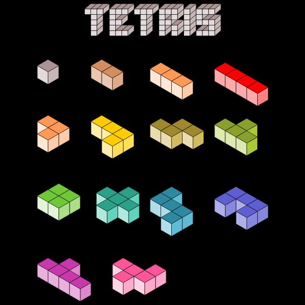 3D Tetris blocks vector illustration