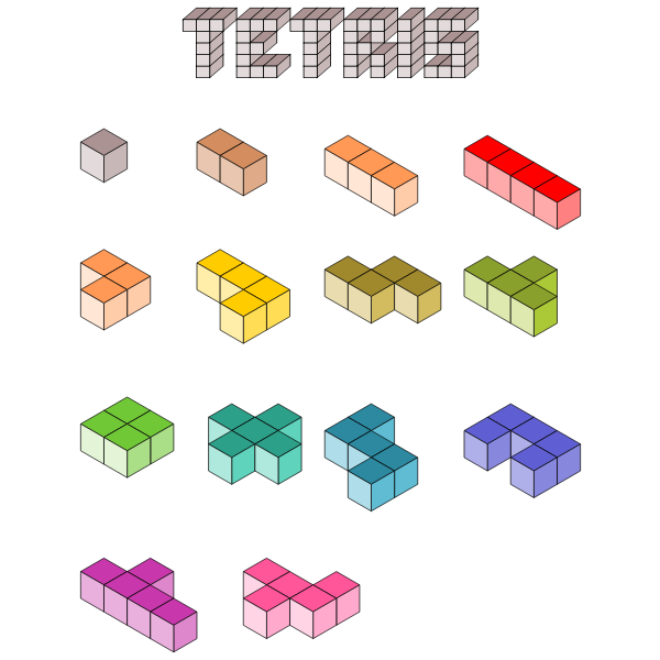 3D Tetris blocks vector illustration