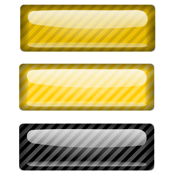 Three stripped black and yellow rectangles vector image