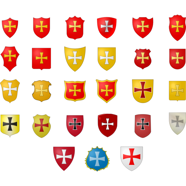 Heraldic coat of arms selection vector graphics
