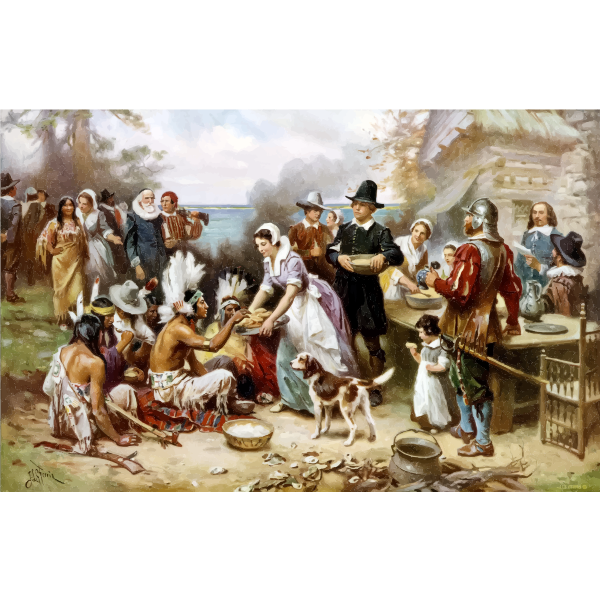Clip art of pilgrims and Native Americans celebrating Thanksgiving together
