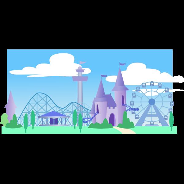 Theme park under a blue sky vector graphics