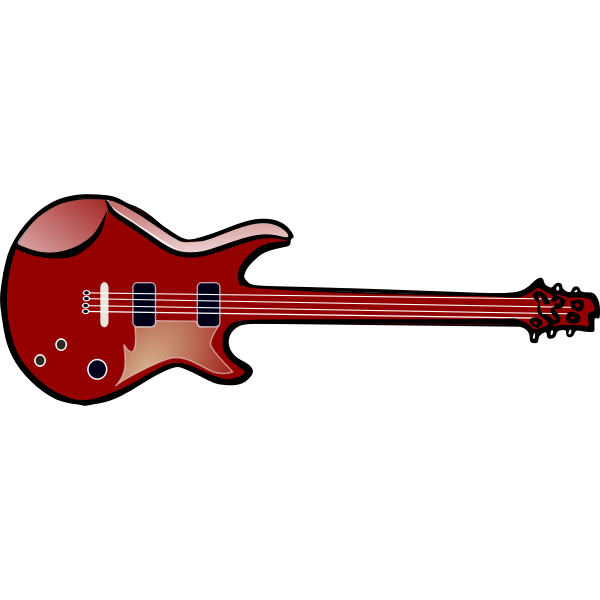 Bass guitar with four strings vector image