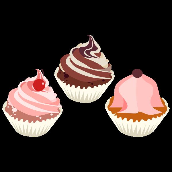 Three delicious cupcakes