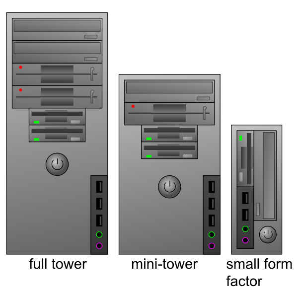 Three types of computer cases in color vector clip art