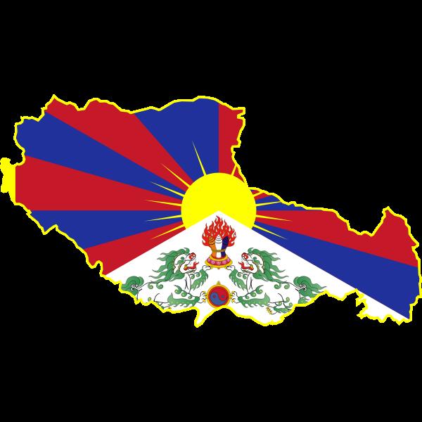 Tibet flag map