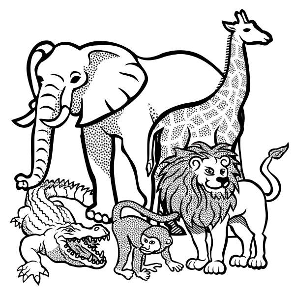 Outline drawing of African animals