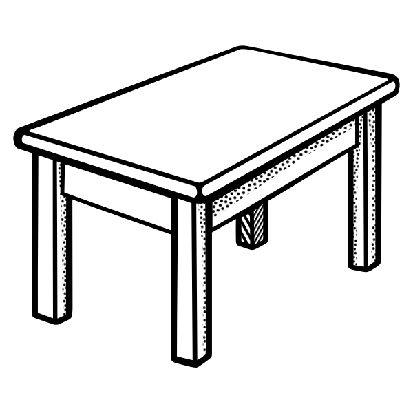 Vector image of simple rectangular shape table line art