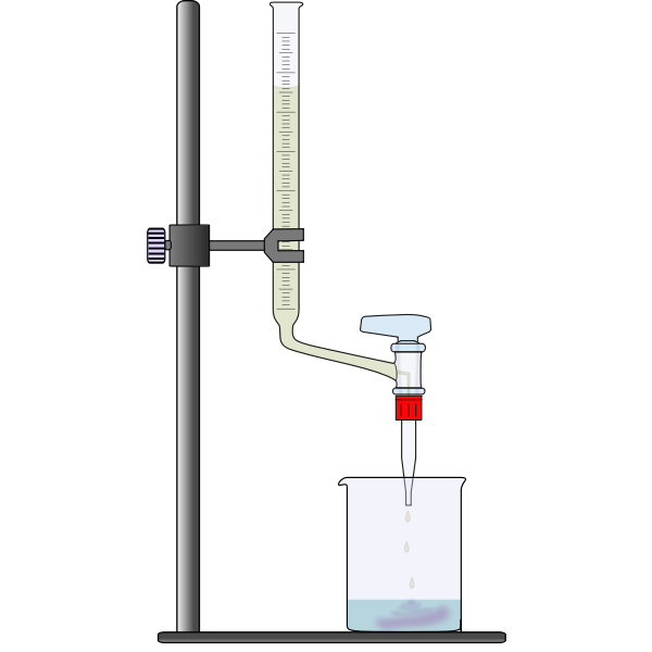 Vector drawing of titration in laboratory experiment