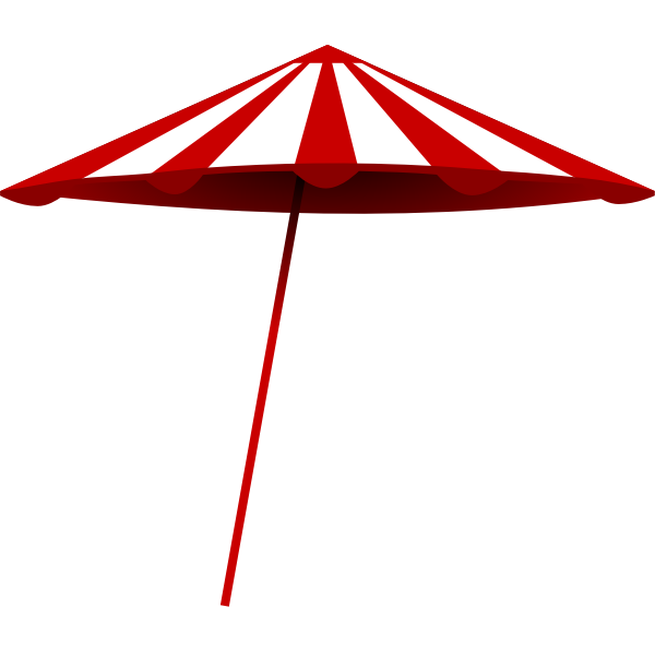 Red and white beach umbrella vector illustration