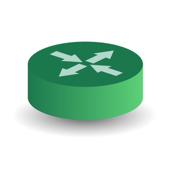 Green router diagram icon vector drawing