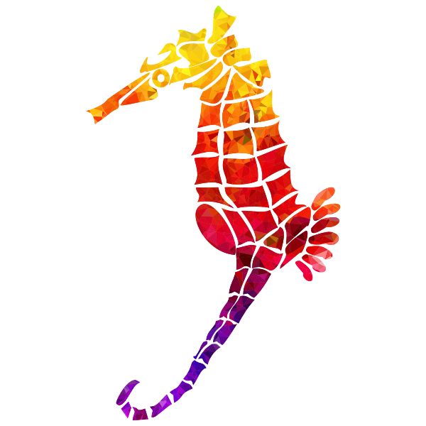 Topaz Ruby Sapphire Stylized Seahorse Silhouette