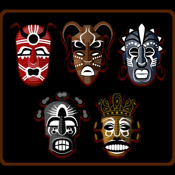Vector image of set of African masks