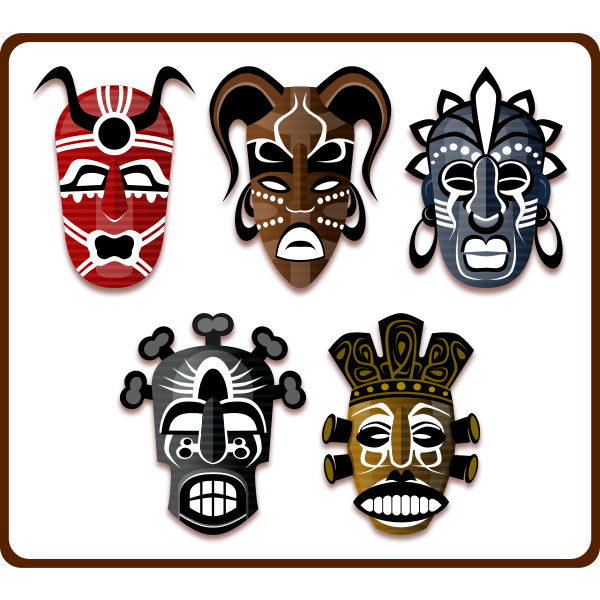 Vector image of set of African masks