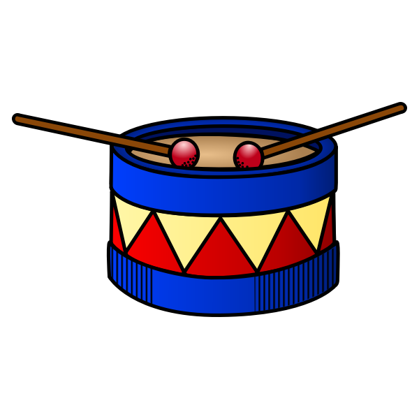 Vector clip art of red and blue drum