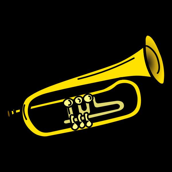 Yellow trumpet line art vector illustration