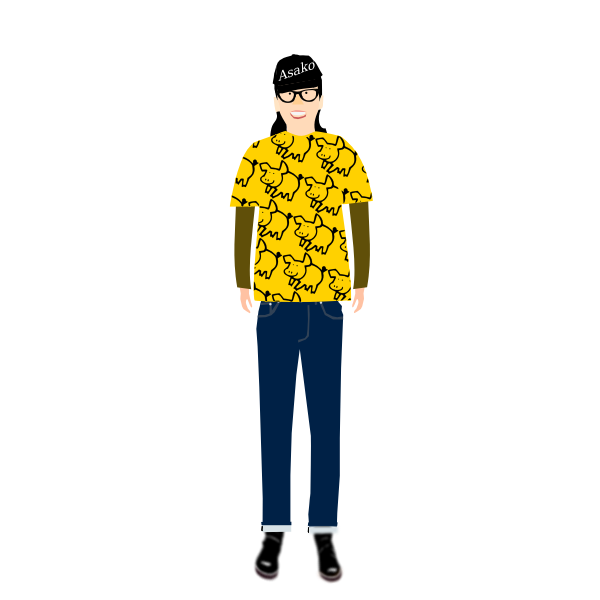 Vector illustration of trendy guy in t- shirt with pig pattern
