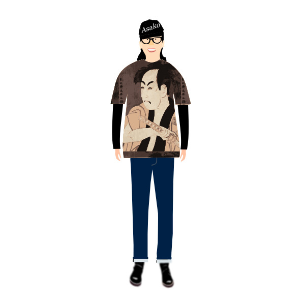 Vector illustration of trendy guy in t- shirt with sharaku pattern