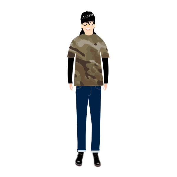 Vector image of trendy guy in t- shirt with camouflage pattern