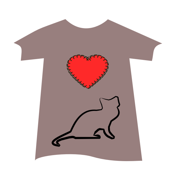 T-shirt with cat and heart | Free SVG
