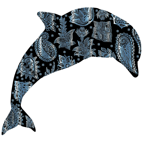 Turquoise Floral Pattern Dolphin