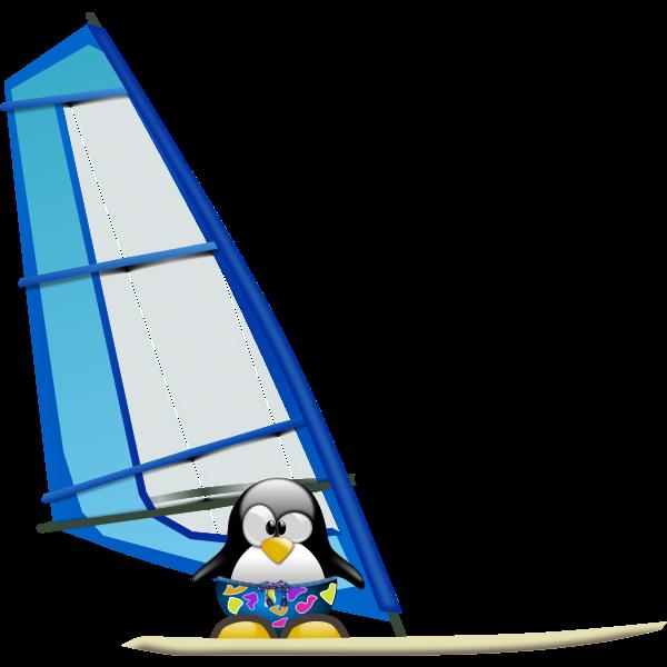 Penguin surfer vector illustration