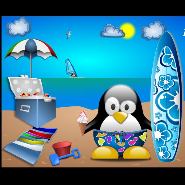Penguin on sandy beach vector image