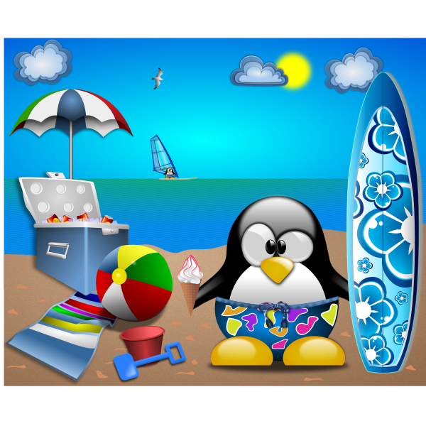 Tux at the beach vector clip art