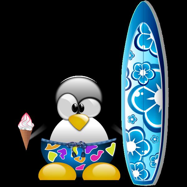 Tux surfer vector image