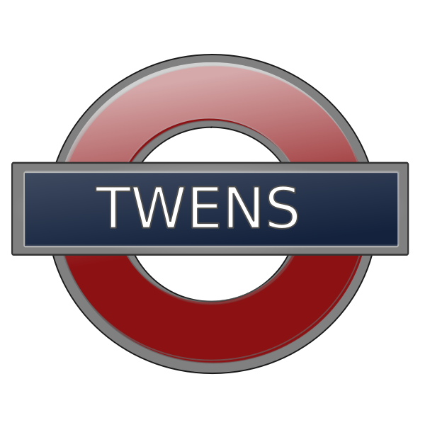 London underground station sign for Twens vector illustration.