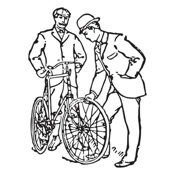 Two men and a bicycle