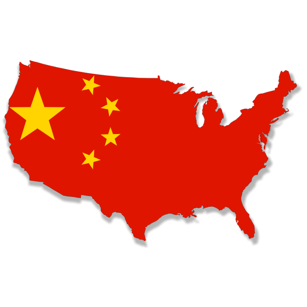 USA map with Chinese flag over it vector clip art