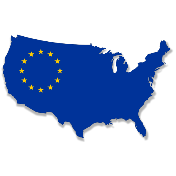 US Europe flag map