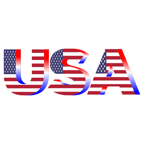 USA Flag Typography Red White And Blue No Background