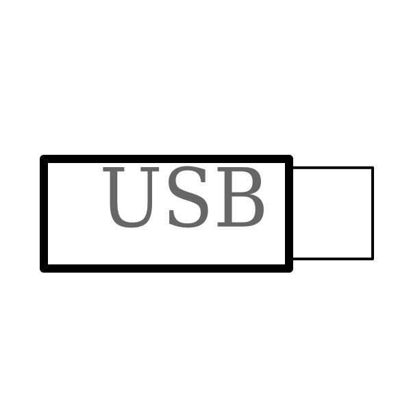 computer USB stick one dimensional vector drawing