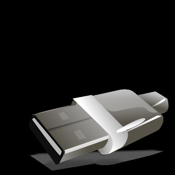Grayscale USB plug vector image