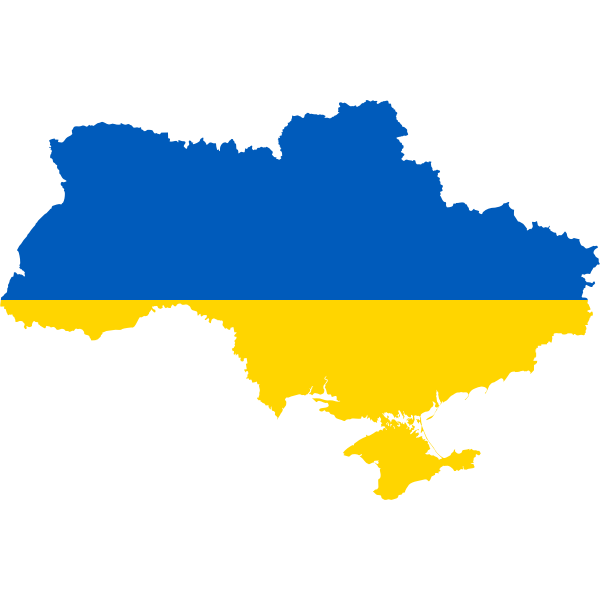 Ukraine map with flag over it vector clip art