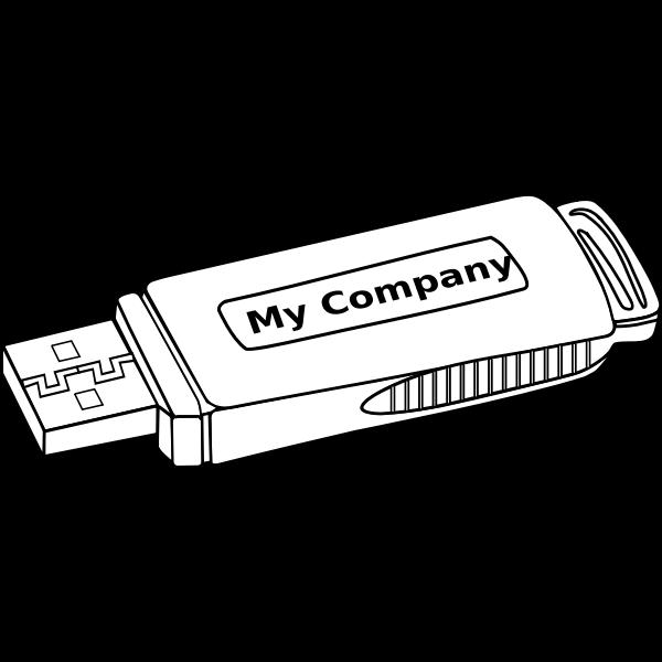 Black and white USB storage drive vector clip art