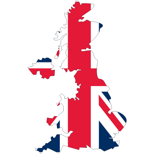 United Kingdom's flag with map