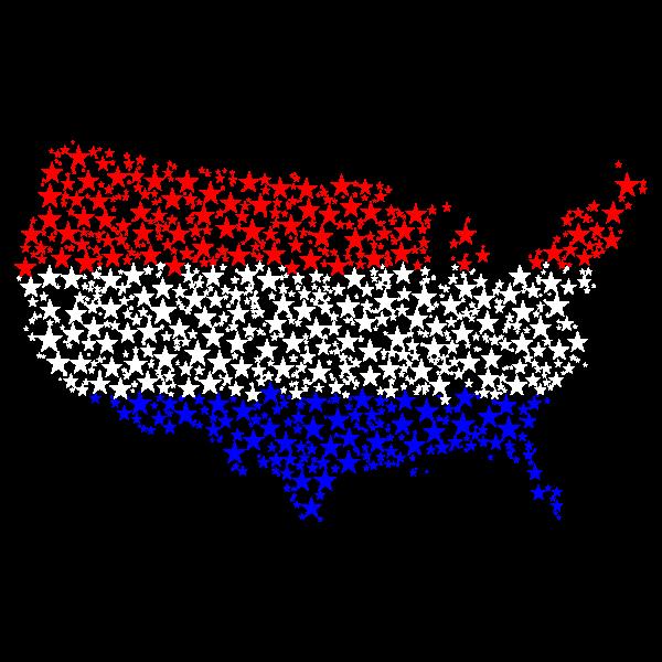 United States Map Flag Stars