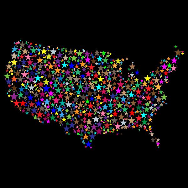 United States Map Prismatic Stars 2