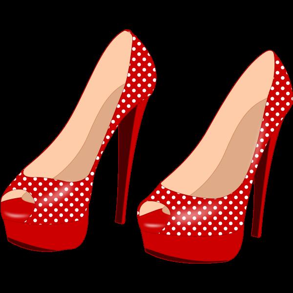 Red stilettos with pattern