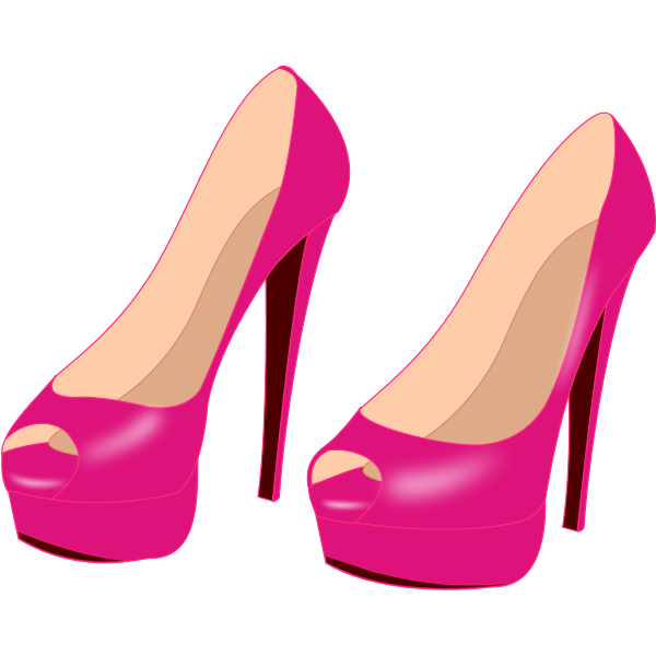 Shiny shoes with high heels