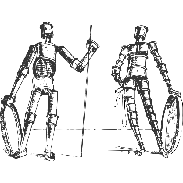 Vector clip art of pair of dynamic figures constructed from metal links