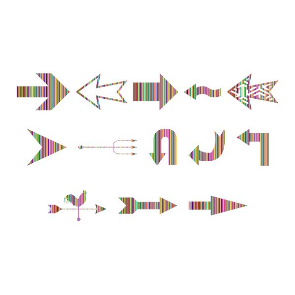 Variety Of Colorful Striped Arrows