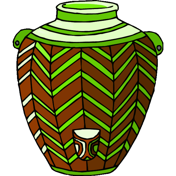 Brown and green pot