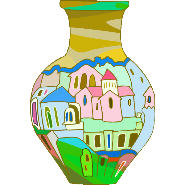 Vase with houses