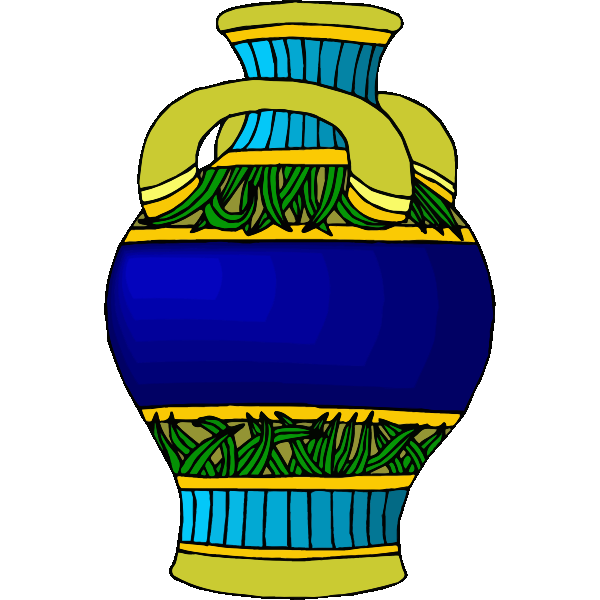 Blue and yellow pot