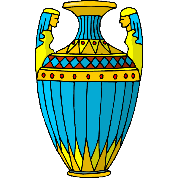 Blue and yellow vase