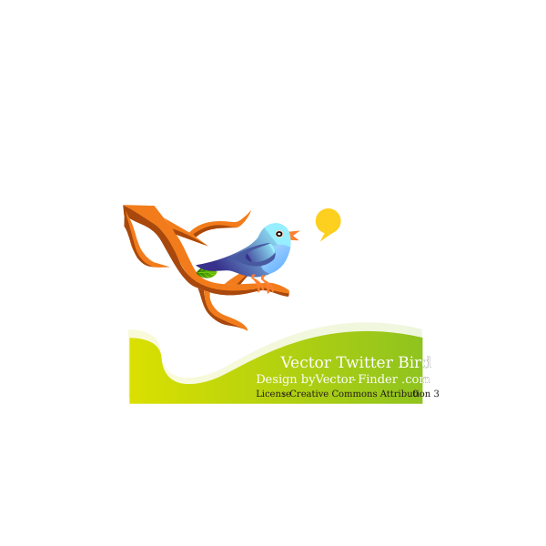 Bird tweeting on a branch in nature vector graphics